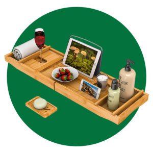 Bath Caddy Tray for Bathtub - Bamboo Adjustable Organizer Tray