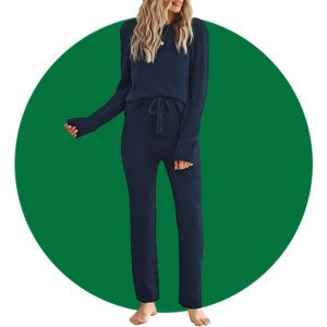 Luvamia Women's Casual Pajama Set Fuzzy Fleece Knitted Long Sleeve Pj Loungewear