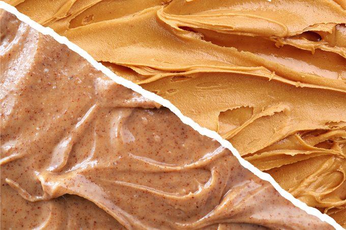 almond butter vs peanut butter split screen full frame