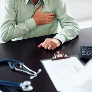 Old man at a routine medical checkup
