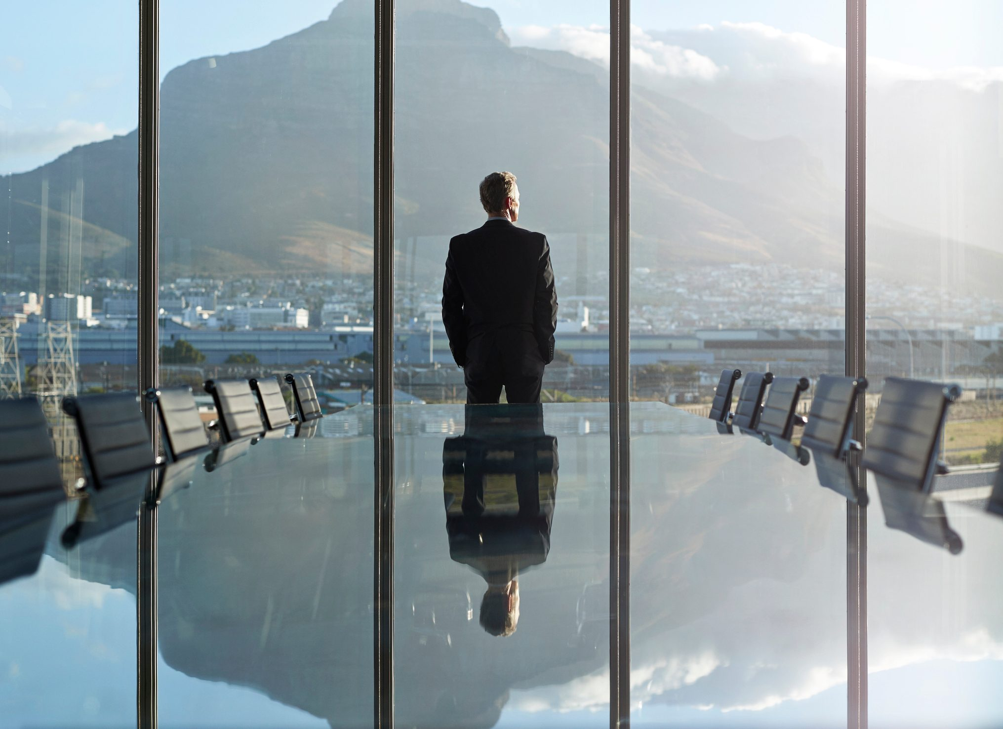 Portrait of male CEO in big corner office, looking out of window