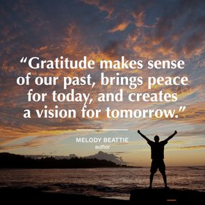 gratitude quote on image of sunset