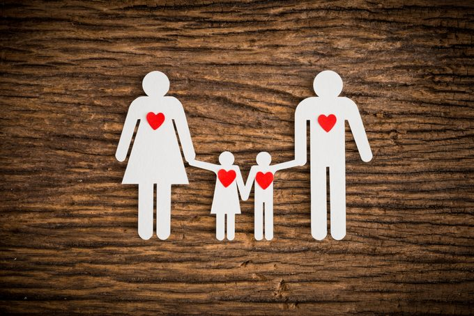 family illustration with red hearts