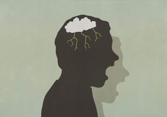 Silhouette angry man with storm cloud in head screaming