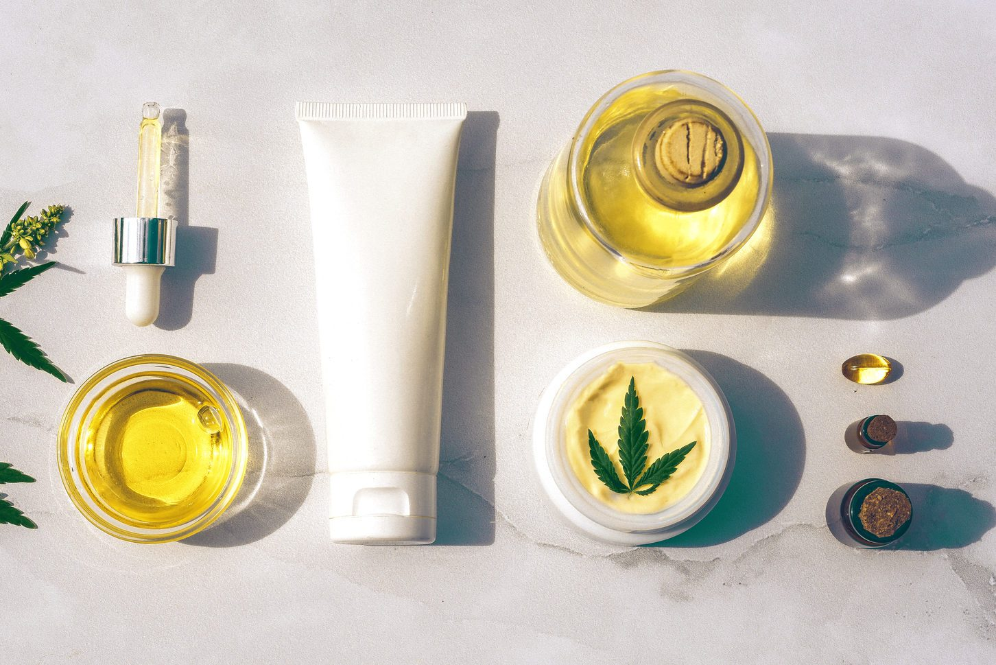 Cosmetics CBD oil. Cosmetic Products with cannabis Oil, tincture Flat lay