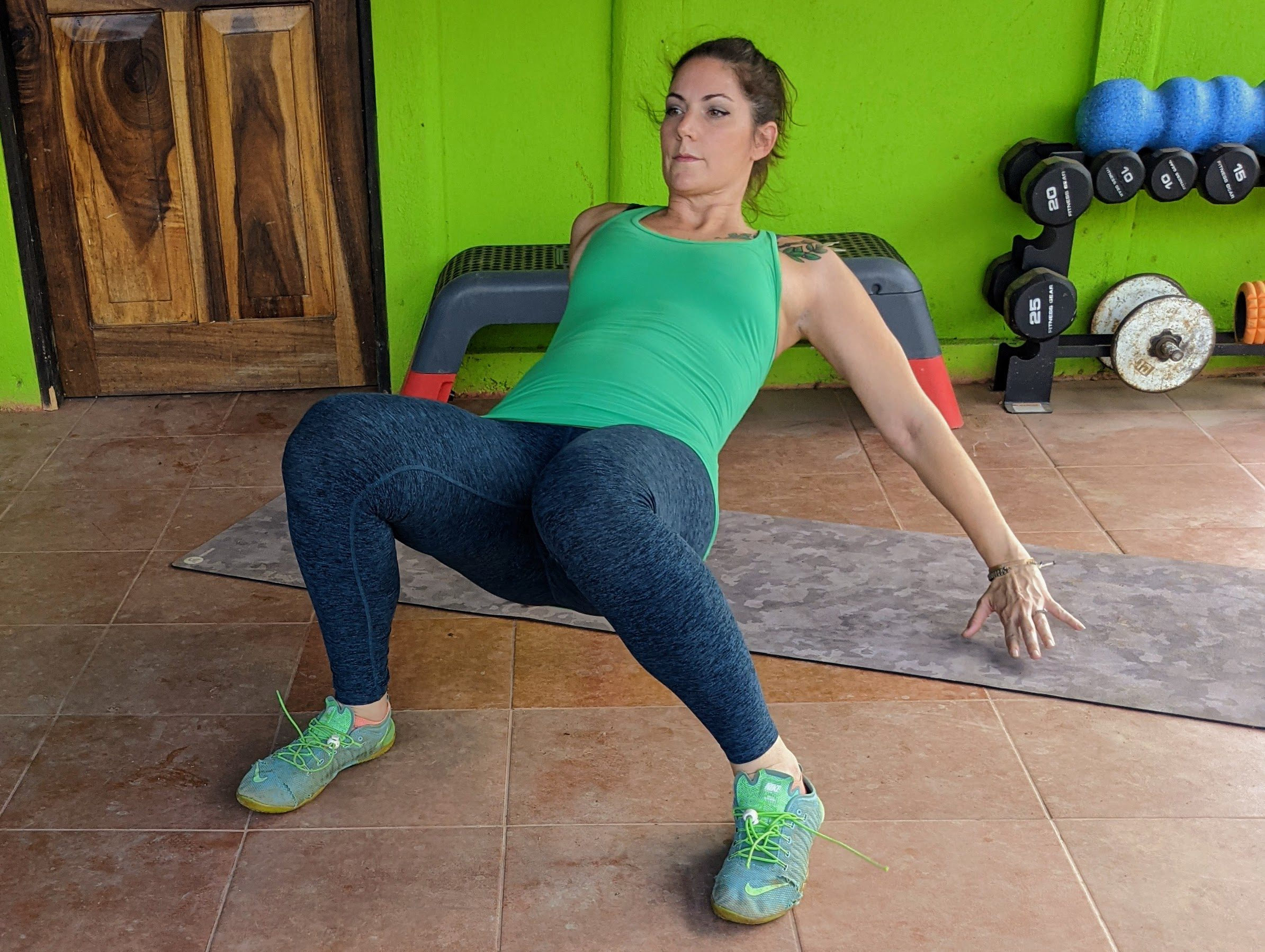 lateral crab walk exercise demonstration