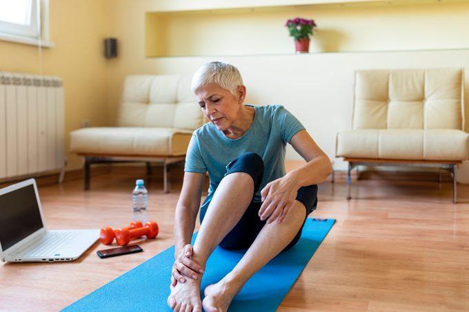 Senior woman has ankle injury