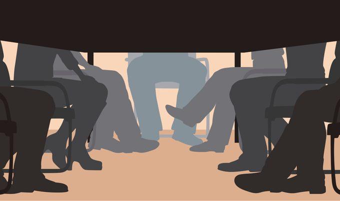 illustration of legs under table