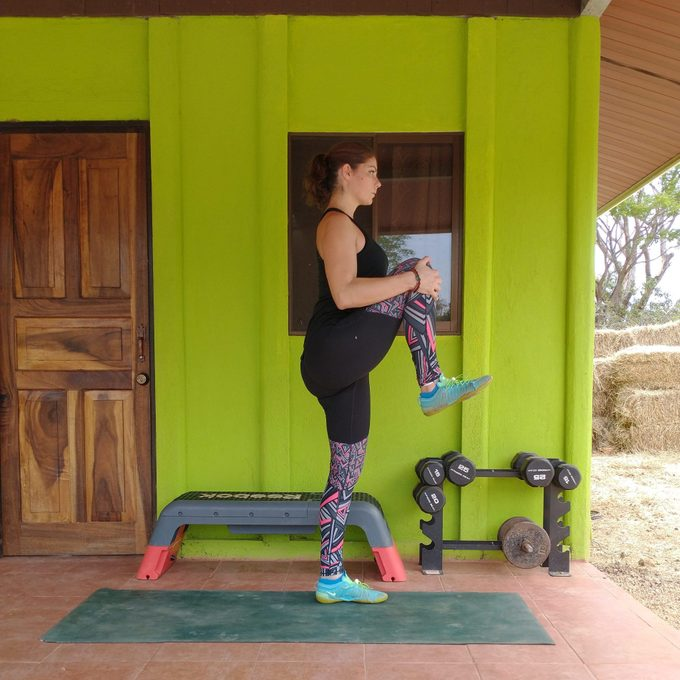 Walking knee-to-chest exercise