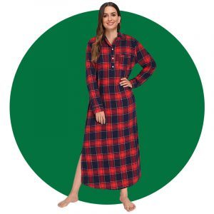 Latuza Womens Plaid Flannel Nightgowns