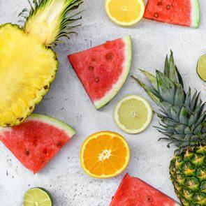 Flat Lay Food, Fresh Fruits, Vitamins, Watermelon, Citrus, Pineapple.