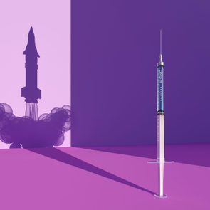 Covid-19 vaccine syringe/rocket silhouette