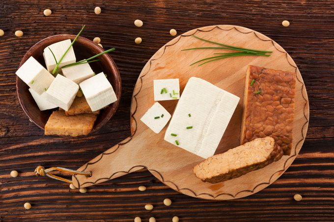 Tofu and tempeh background.