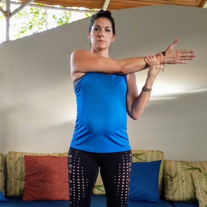 Cross-body triceps and shoulder stretch