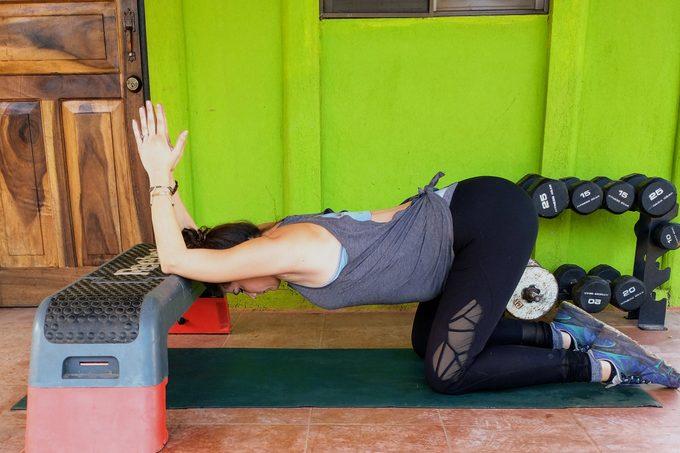 Prayer Stretch On A Bench Stretch