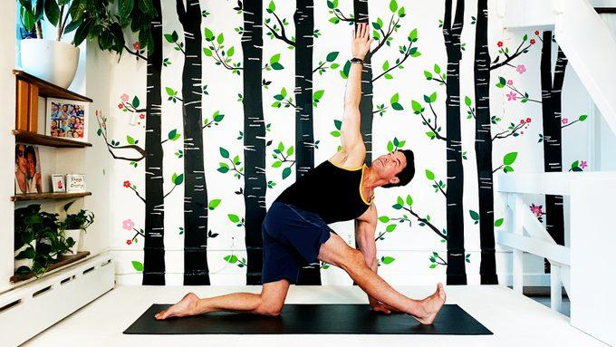 half split twist yoga pose