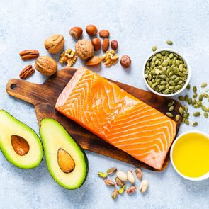 Food with high content of healthy fats. Overhead view.