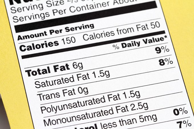 Nutrition label close up