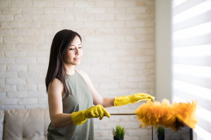 Beautiful housewife rubbing feather duster on television