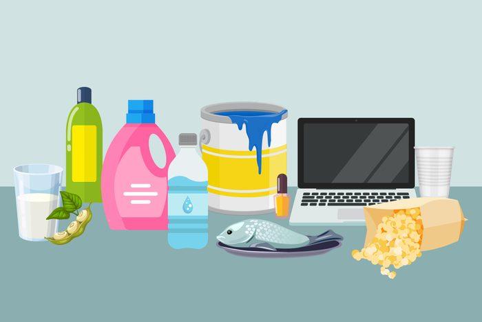 Endocrine Disruptor Products Collage Illustration