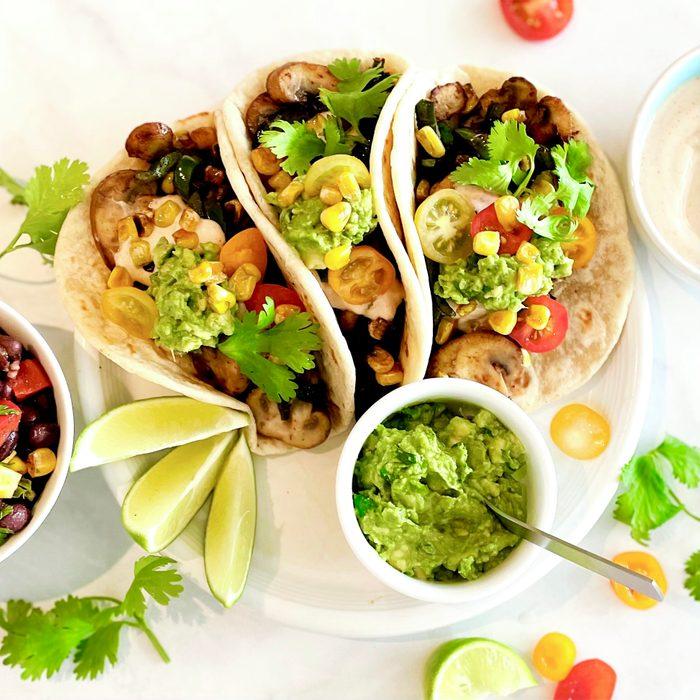 Plant-based baby bella, poblano, and corn tacos