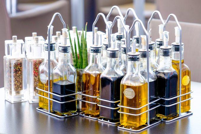 various oil bottles on table