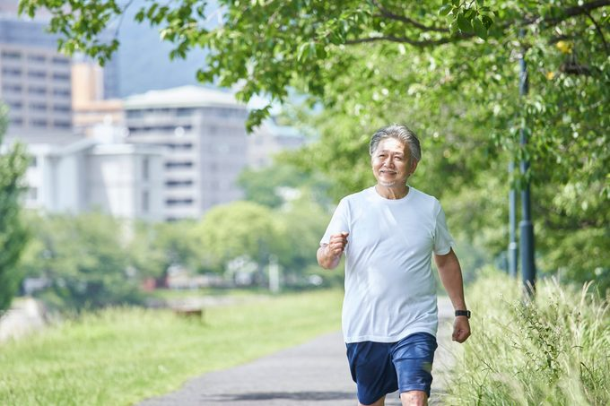 Senior man exercising in the park