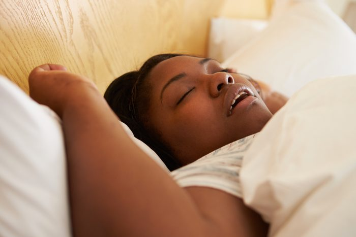 woman sleeping with dry mouth