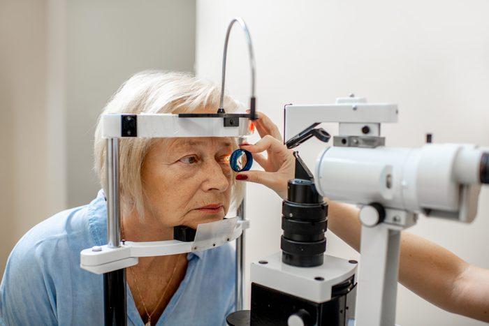 Senior woman during a medical eye examination